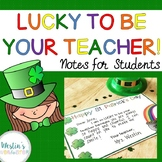 Lucky to Be Your Teacher! - Notes for Students