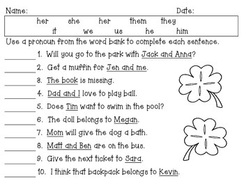 St. Patrick's Day themed pronoun review pack