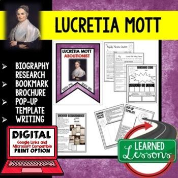 Lucretia Mott Biography Research, Bookmark Brochure, Pop-Up, Writing