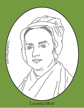 Lucretia Mott Clip Art, Coloring Page or Mini Poster by Cordial Clips