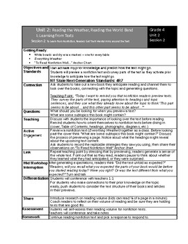 Lucy Calkin's 4th Grade Reading Unit 2 Bend 1 Lessons
