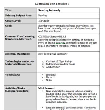 Lucy Calkin's Reading Unit 1 4th Grade Common Core Aligned