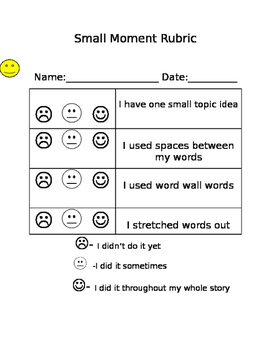 Lucy Calkins 1st grade Small Moments Rubric