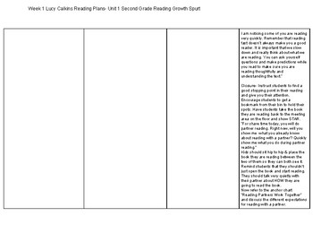 Lucy Calkins 2nd Grade Reading Plans Unit 1 Sessions 1-5