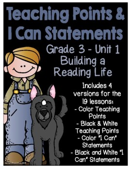 Lucy Calkins - 3rd Grade Unit 1 Teaching Points & I Can Statements