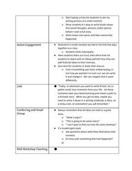 Lucy Calkins 4th Grade Unit 1 Session 1 Lesson Plans
