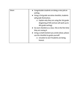 Lucy Calkins 4th Grade Unit 1 Session 1 Lesson Plans