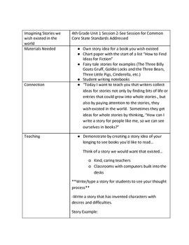 Lucy Calkins Unit 1 Session 2 Lesson Plans 4th Grade