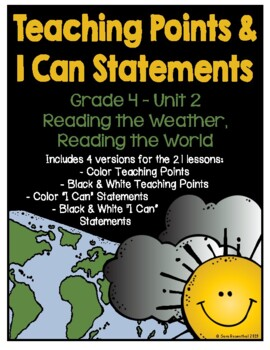 Lucy 4th Grade Unit 2 Teaching Points & I Can Statements