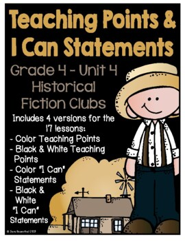 Lucy 4th Grade Unit 4 Teaching Points & I Can Statements