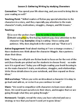 Lucy Calkins Lesson Plans - 4th grade - Writing Workshop: The Literary Essay
