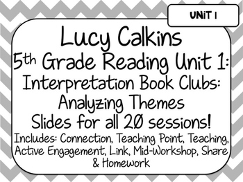 Lucy Calkins Unit Plans: 5th Grade Reading Unit 1-Interpretation Book Clubs