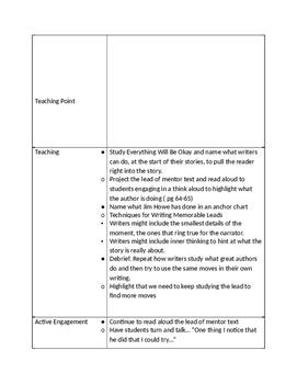 Lucy Calkins 6th Grade Unit 1 Session 7