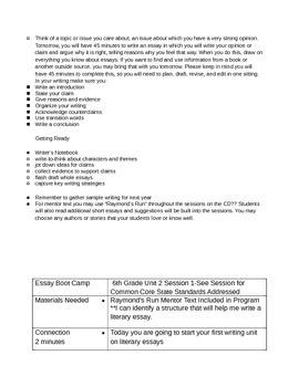 Lucy Calkins 6th Grade Unit 2 Bend 1 Lessons