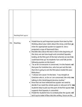 Lucy Calkins 6th Grade Unit 2 Session 11