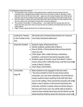 Lucy Calkins 6th Grade Unit 2 Session 8