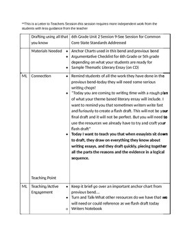 Lucy Calkins 6th Grade Unit 2 Session 9