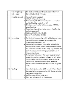 Lucy Calkins 6th Grade Unit 3 Session 1-Writing
