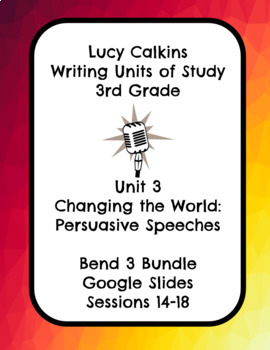 Lucy Calkins Changing the World Opinion Writing 3rd Grade Bend 3 Slides