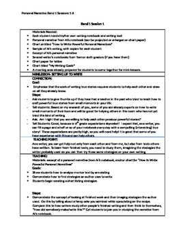 Lucy Calkins 'Cheat Sheets' for Personal Narrative writing