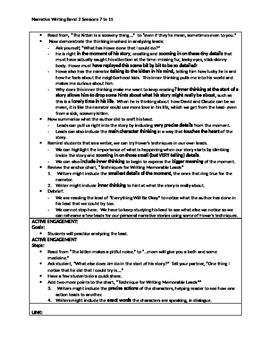 Lucy Calkins 'Cheat Sheets' for Personal Narrative writing unit Bend 2