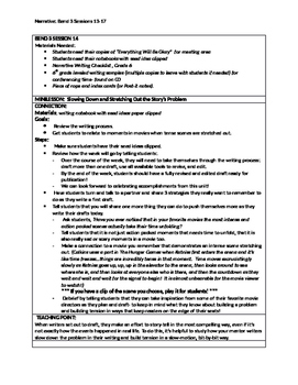 Lucy Calkins 'Cheat Sheets' for Personal Narrative writing unit Bend 3 Grade 6