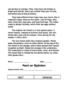 Lucy Calkins Fact vs Opinion Lesson Plan