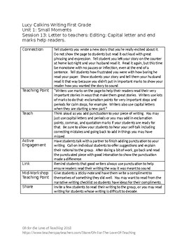 Lucy Calkins First Grade Unit 1: Small Moments Session Outlines - fully editable