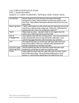 Lucy Calkins Writing First Grade Unit 1 Outlines - editable