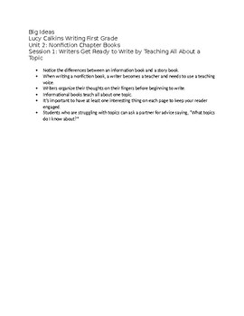 Lucy Calkins First Grade Unit 2: Nonfiction Chapter Books - fully editable