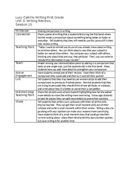 Lucy Calkins First Grade Unit 3: Writing Reviews Session Outlines-fully editable