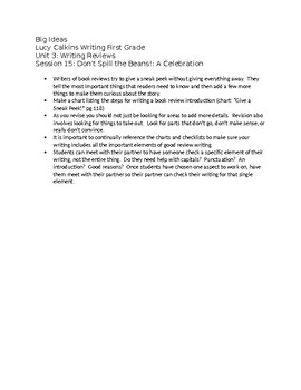 First Grade Lucy Calkins List of Big Ideas Unit 3 - editable
