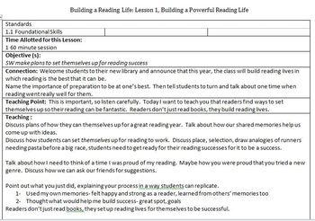 Lucy Calkins, Grade 3 Reading Lesson Plan: Unit 1: Building a Reading Life