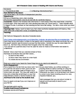 Lucy Calkins, Grade 3 Reading Lesson Plan: Unit 4: Research Clubs