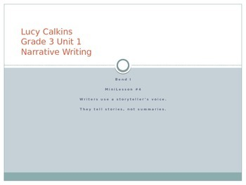 Lucy Calkins Grade 3 Unit 1 Bend 1 Powerpoint Lessons