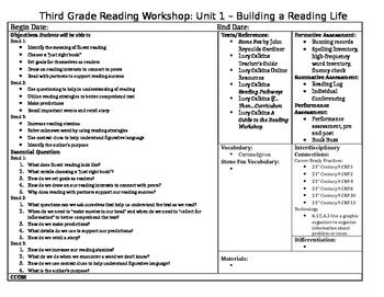 Lucy Calkins, Grade 3: Unit 1 - Builing a Reading Life Unit Plans