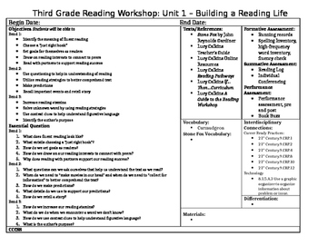Lucy Calkins, Grade 3: Unit 1 - Builing a Reading Life Unit Plans