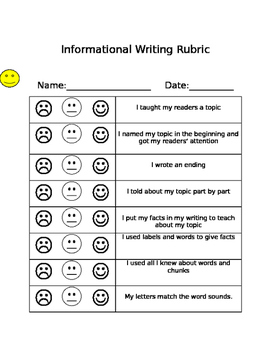 Lucy Calkins Informational Writing Rubric Growth Mindset