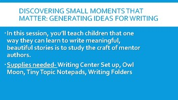 Imporving Narrative Writing- Based on Lucy Calkins Narrative BEND 1 ONLY