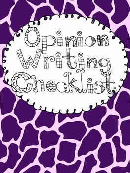 Lucy Calkins Inspired Opinion Checklist