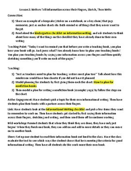 Lucy Calkins Lesson Plans -1st Grade- Writing Workshop: Nonfiction Chapter Books
