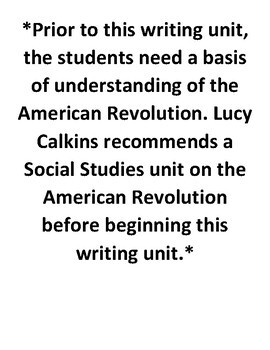 Lucy Calkins Lesson Plans -4th grade- Writing Workshop: Bringing History to Life