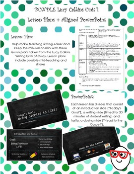 Lucy Calkins Narrative (Unit 1) Lesson Plans + Aligned PowerPoint