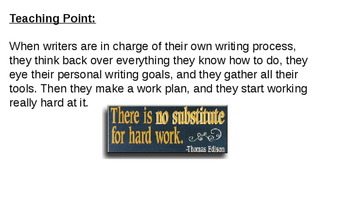 Lucy Calkins Personal Narrative Writing PowerPoint for Bend 3