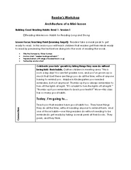 Reader's Workshop adapted from Lucy Calkins Unit 1- Building Good Reading Habits