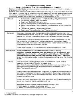 Lucy Calkins Readers Workshop First Grade Unit 1 Summaries