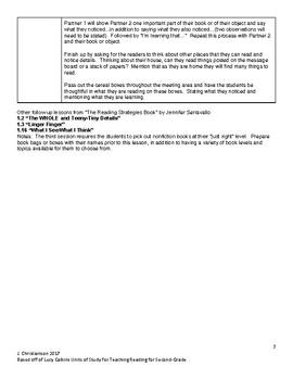 Lucy Calkins Readers Workshop Second-Grade Unit 2 Summaries