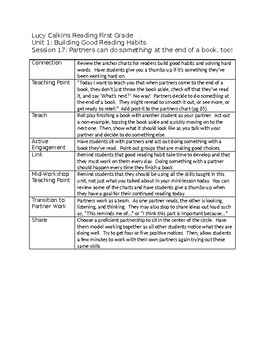 Lucy Calkins Reading First Grade Unit 1 Outlines - fully editable