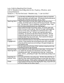Lucy Calkins Reading First Grade Unit 3 Outlines – fully editable