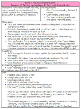 3rd Grade - Reading Unit #1 Building a Reading Life Outline (Lucy Calkins)